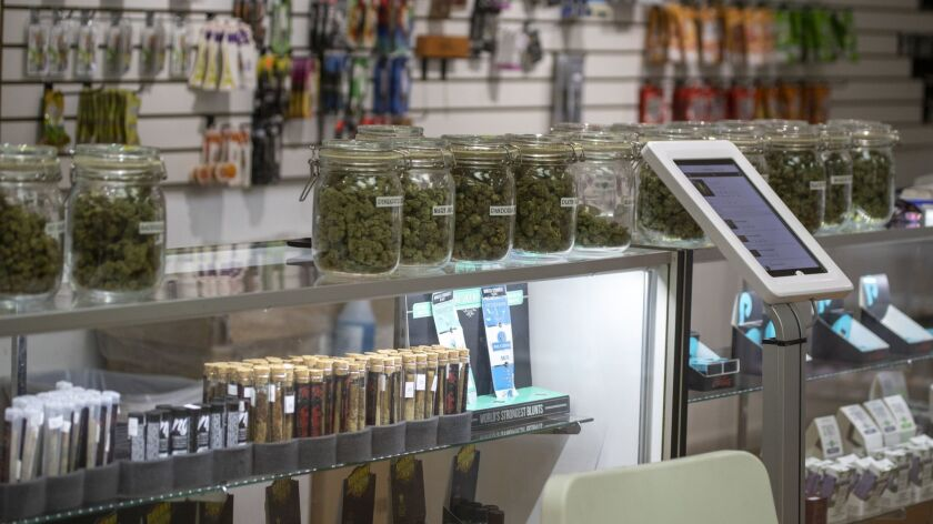 A view of an illegal marijuana dispensary after the Department of Water & Power shut off its utilities in Wilmington, Calif. on May 14.