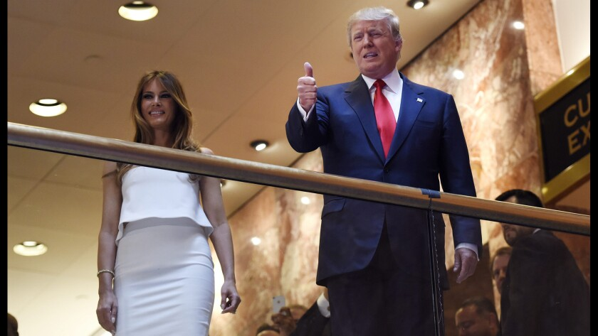 Donald Trump appears with his wife, Melania, in June 2015.