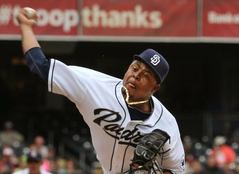 Padres beat Braves, 5 to 3- Padres' starting pitcher Edinson Volquez fires to the plate.