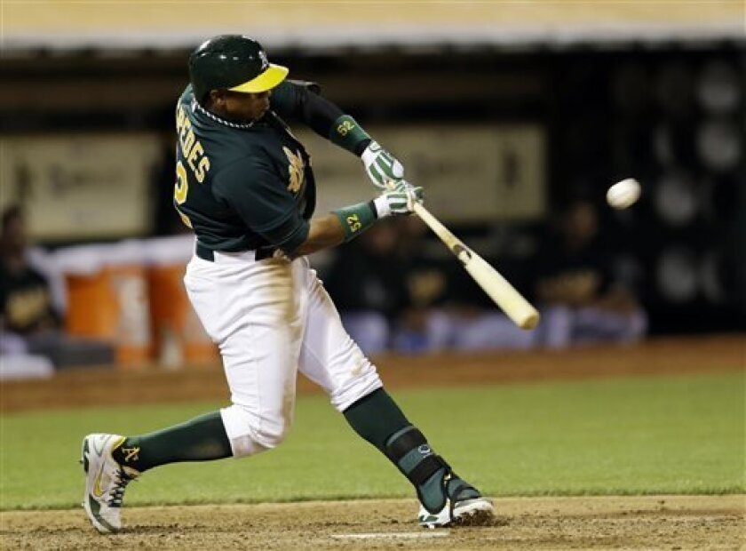Oakland Athletics' Yoenis Cespedes drives in two runs with a triple against the Los Angeles Angels during the fifth inning of a baseball game on Tuesday, April 30, 2013 in Oakland. Calif. (AP Photo/Marcio Jose Sanchez)
