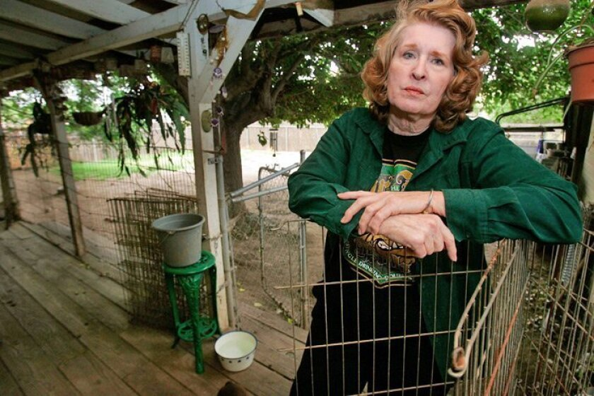 Alice Via, who has been tending to rescued dogs since 1994, now faces misdemeanor charges related to their care. County officials seized 63 dogs from her Lakeside property.