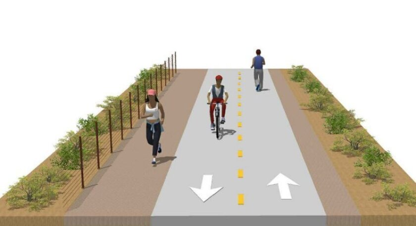 A mock-up image of the rail trail on San Elijo Avenue.