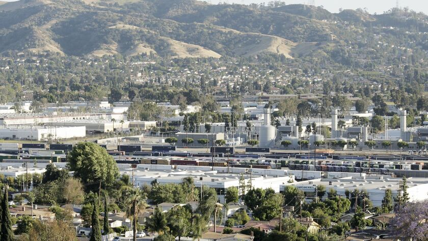 INDUSTRY, CALIF. - APR. 28, 2015. Industrial development in the City of Industry abuts residential a