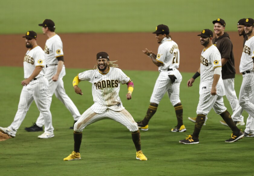 Fernando Tatis Jr. of the San Diego Padres celebrates beating the St. Louis Cardinals 4-0 to win the Wild Card Series.