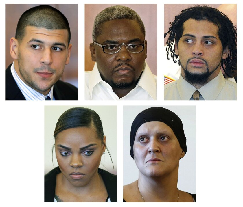 This panel of file photos shows some of those who are connected to the murder trial of former New England Patriots tight end Aaron Hernandez; top row from left: Aaron Hernandez; and co-defendants to be tried separately Ernest Wallace and Carlos Ortiz. Bottom row, from left; Shayanna Jenkins, Hernan