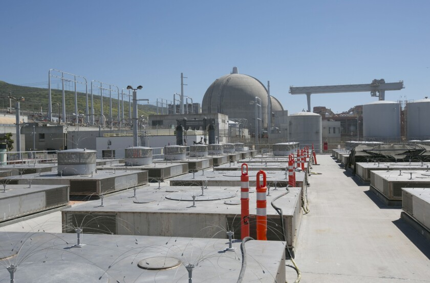 The newly constructed dry storage installation at the San Onofre Nuclear Generating Station, where canisters filled with used nuclear fuel are lowered into enclosure cavities until the federal government determines where it should go.