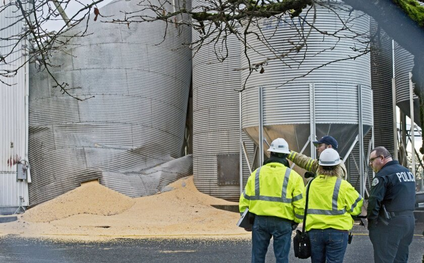 Department of Labor and Industries officials meet with emergency personnel at the site of collapsed grain silo in Roy, Wash.,Tuesday, Dec. 3, 2013. A fire chief says a worker is presumed dead after the silo collapsed Monday and spilled tons of corn. (AP Photo/The News Tribune,Peter Haley)