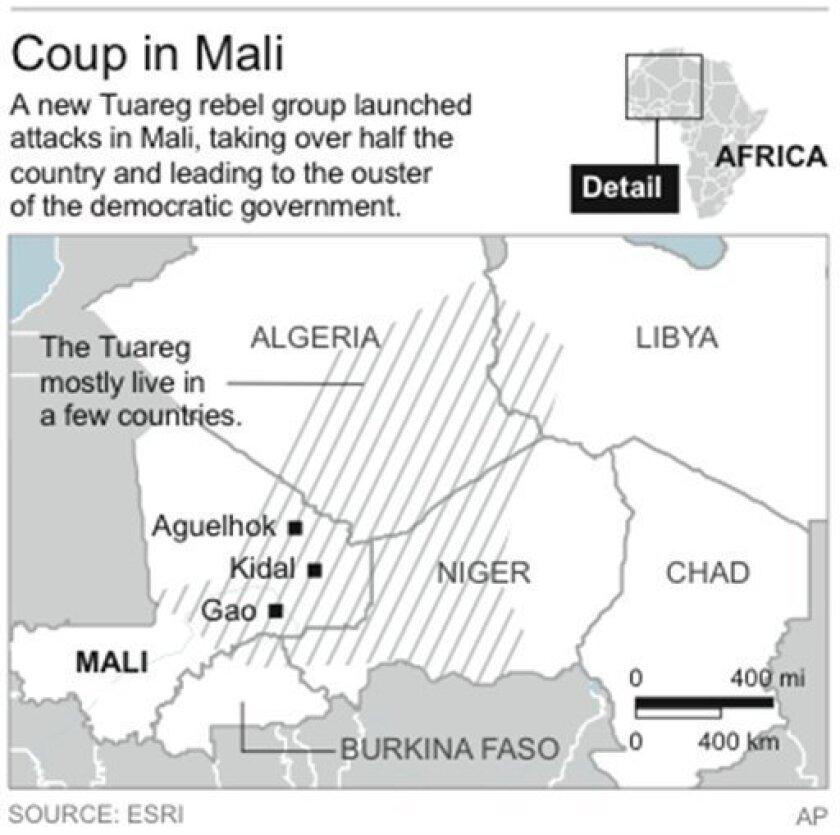 Map locates distribution of Tuareg peoples