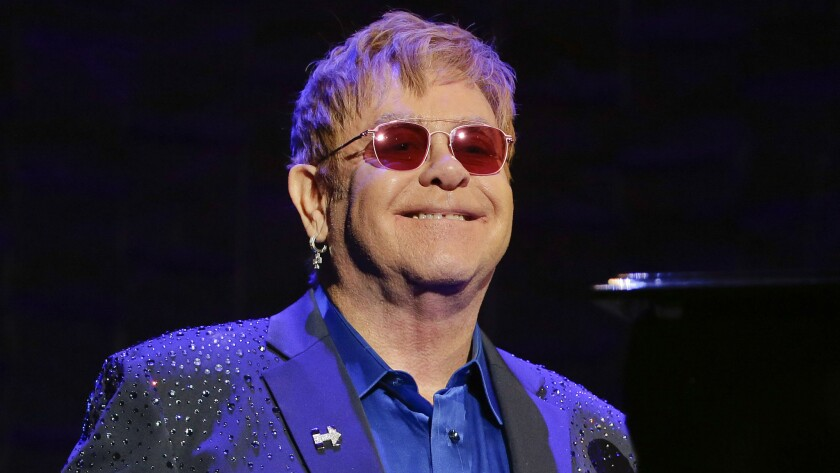 Elton John performed March 2 at a fundraiser for Hillary Clinton.