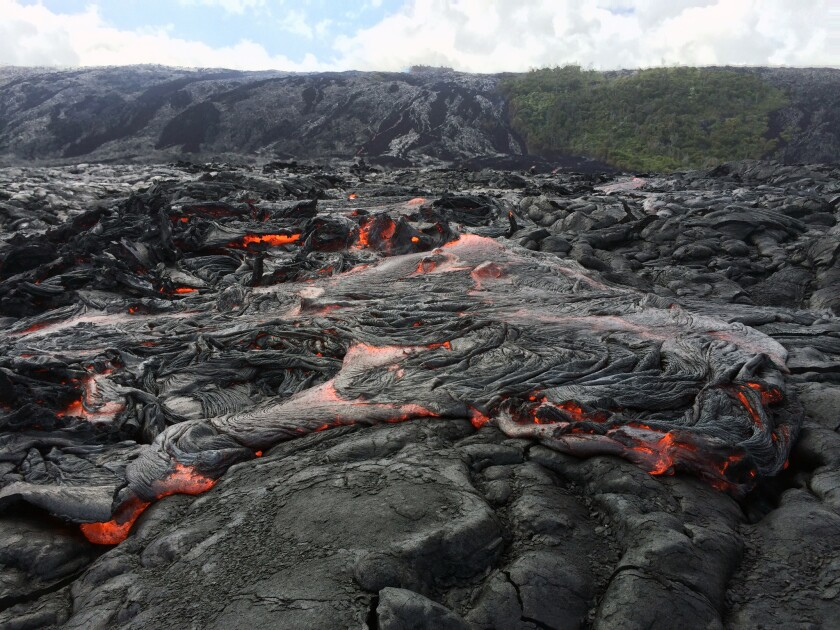 The lava flow from Kilauea volcano on the southern tip of Hawaii Island on July 2.
