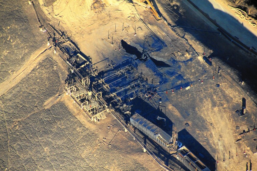 A view last month of Southern California Gas' leaking well near Porter Ranch, including the exposed wellhead.