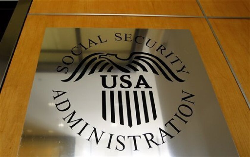 A sign for the Social Security Administration is seen in Los Angeles, Friday, July 29, 2011.