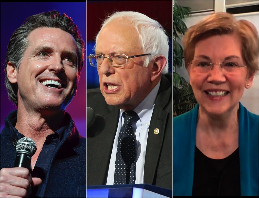 Portraits of California Gov. Gavin Newsom and Sens. Bernie Sanders and Elizabeth Warren