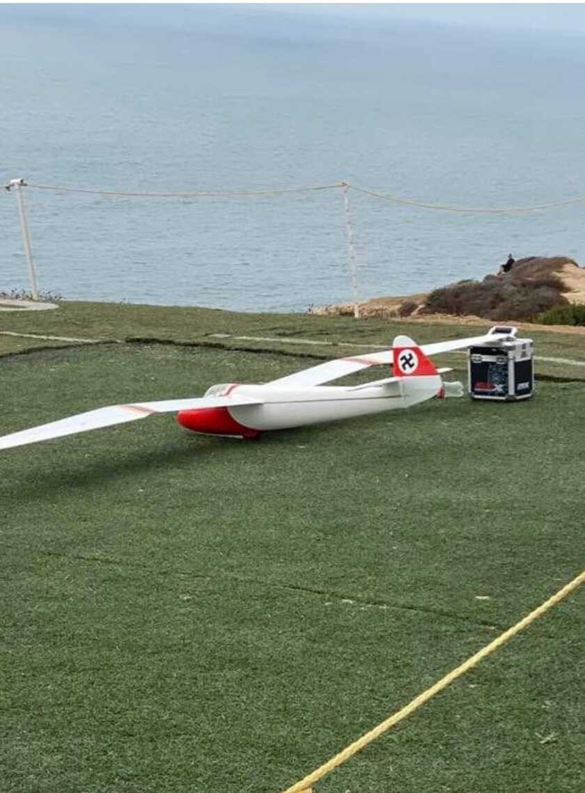 A plane with a swastika on the tail was photographed at the Torrey Pines Gliderport.