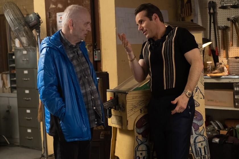 """David Chase and Alessandro Nivola on the set of """"The Many Saints of Newark."""""""