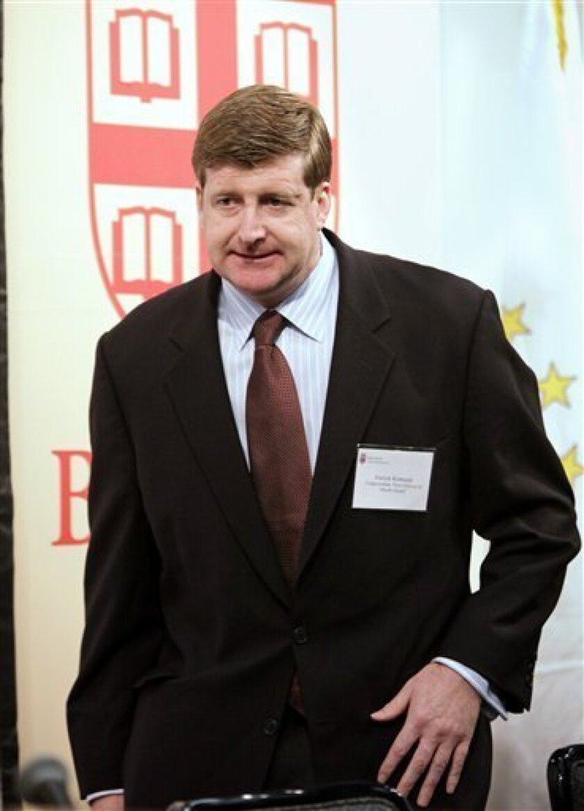 "U.S. Rep. Patrick Kennedy, D-R.I., arrives at a forum on healthcare reform on the campus of Brown University, in Providence, R.I., Monday, Nov. 30, 2009.  Kennedy, who addressed an audience during the forum, said all people deserve health care because they are ""children of God"" in his first public"