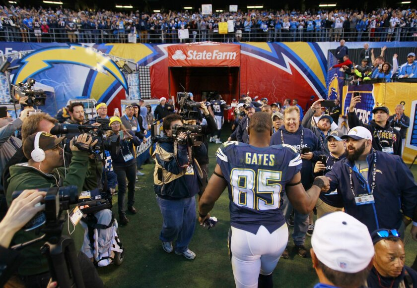 SAN DIEGO, CA -DEC. 20, 2015 - Chargers Antonio Gates walks off the field after a 30-14 win over Miami at Qualcomm Stadium. (K.C. Alfred/ San Diego Union-Tribune)