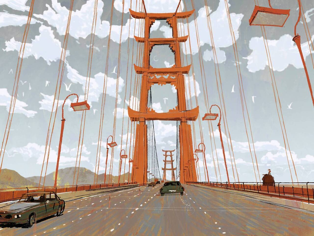 "Concept art showcases an iconic bridge and treasured landmark of the high-tech, fast-paced city of San Fransokyo, the setting for Walt Disney Animation Studios' ""Big Hero 6."""