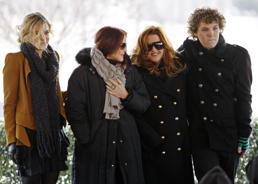 Benjamin Keough, with his sister Riley Keough, left, grandmother Priscilla Presley and mother Lisa Marie Presley.
