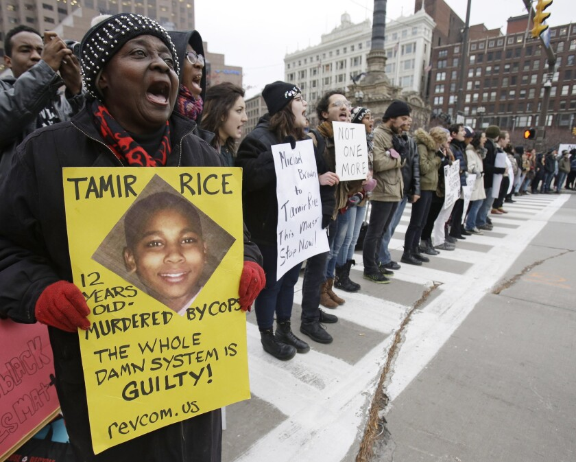 Demonstrators block Public Square in Cleveland during a protest last month over the police shooting of Tamir Rice. The 12-year-old was fatally shot by a Cleveland police officer Nov. 22 after he displayed a toy gun at a recreation center.