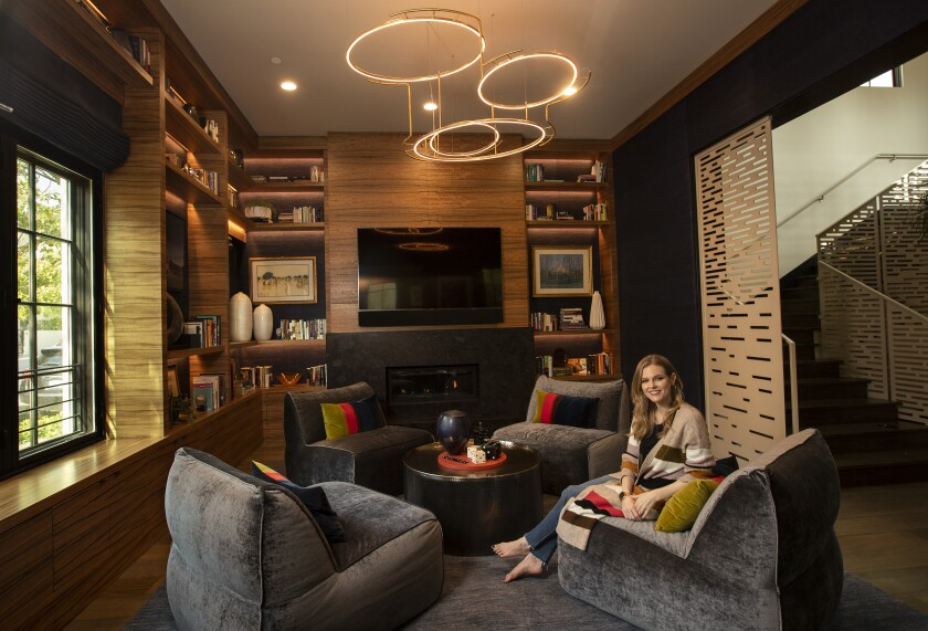 Actress Chelsey Crisp's favorite space is the living/game room of her home in Century City.