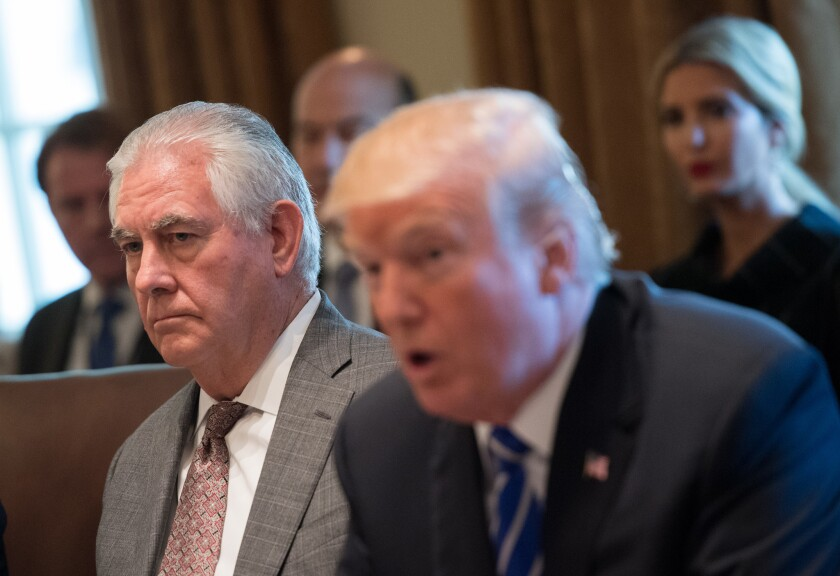 Secretary of State Rex Tillerson listens as President Donald Trump speaks to the media at the White House in Washington, D.C. onNov. 20, 2017.