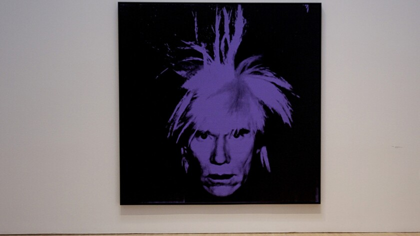 A self-portrait by Andy Warhol at MOCA. Warhol's diaries have been reissued in a 25th anniversary edition.
