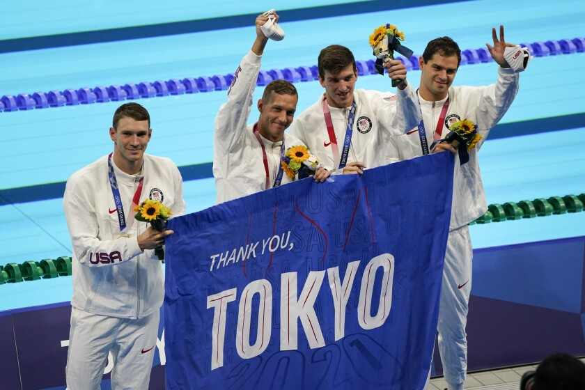 Members of U.S. men's 4x100-meter medley relay team — from left, Caeleb Dressel, Zach Apple, Ryan Murphy and Michael Andrew.