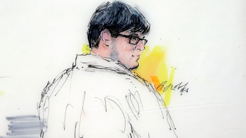 A sketch of Enrique Marquez Jr. in federal court at an earlier hearing in his criminal case. Marquez, 25, pleaded guilty to terrorism-related charges.