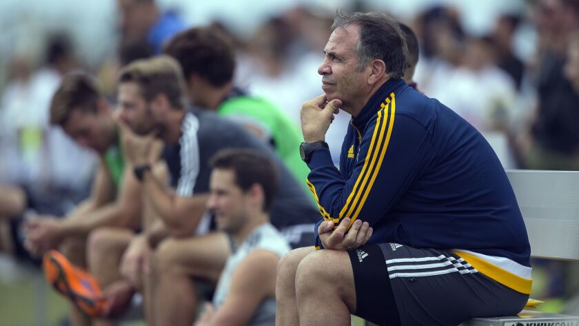 CARSON, CA - JULY 9, 2015: L.A. Galaxy head coach Bruce Arena watches training at the StubHub Cente