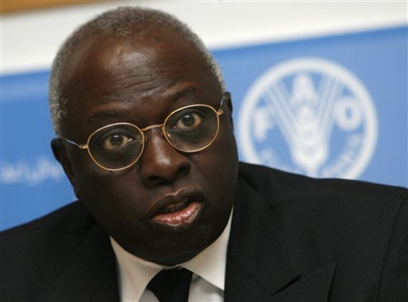 U.N. Food and Agriculture Organization agency's Director-General Jacques Diouf attends a press conference in Rome, Tuesday, Dec. 9, 2008. High food prices have pushed the number of hungry people in the world close to 1 billion, a U.N. agency said Tuesday. The Rome-based Food and Agriculture Organization said in a report that 40 million people have fallen into hunger this year, bringing the number of needy to 963 million. (AP Photo/Alessandra Tarantino)