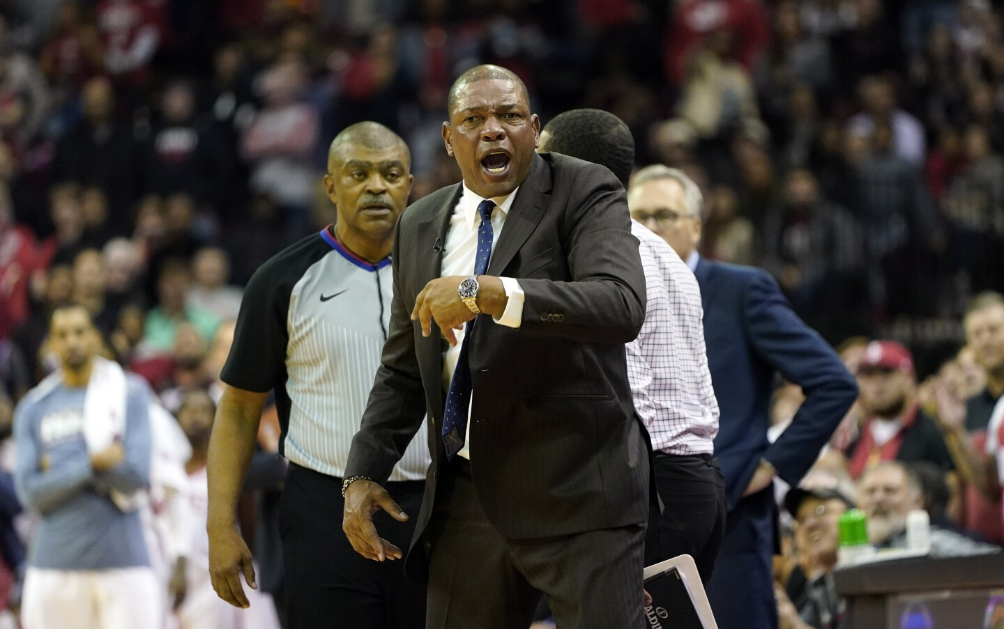 LA Clippers coach Doc Rivers yells at an official before being ejected from the game during the second half of an NBA basketball game against the Houston Rockets Wednesday, Nov. 13, 2019, in Houston. The Rockets won 102-93. (AP Photo/David J. Phillip)