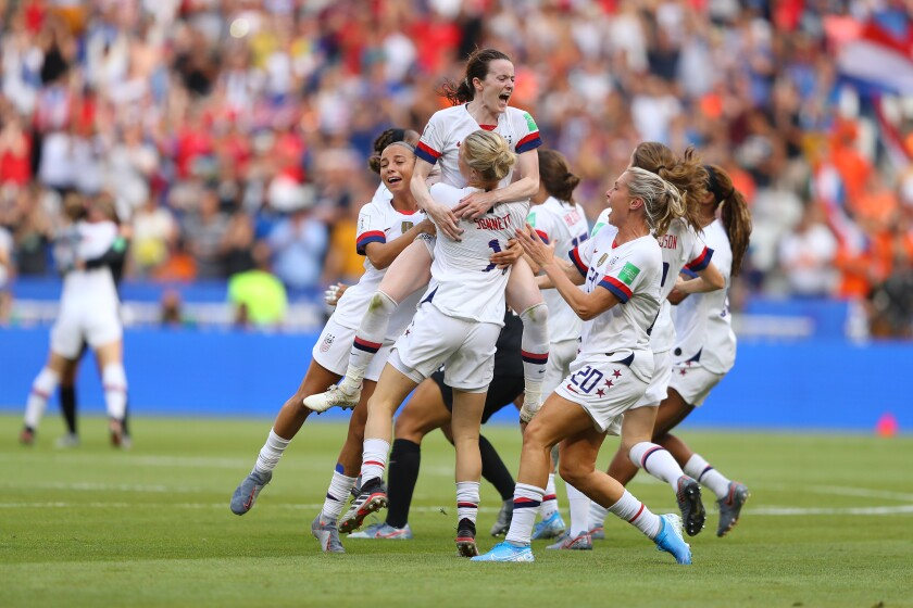 Members of the U.S. women's soccer team at last year's World Cup.