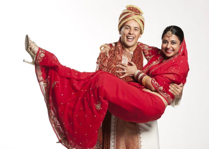 "Rachid Sabitri as Atul and Mahira Kakkar as Vina in the Old Globe Theatre's production of ""Rafta, Rafta."""