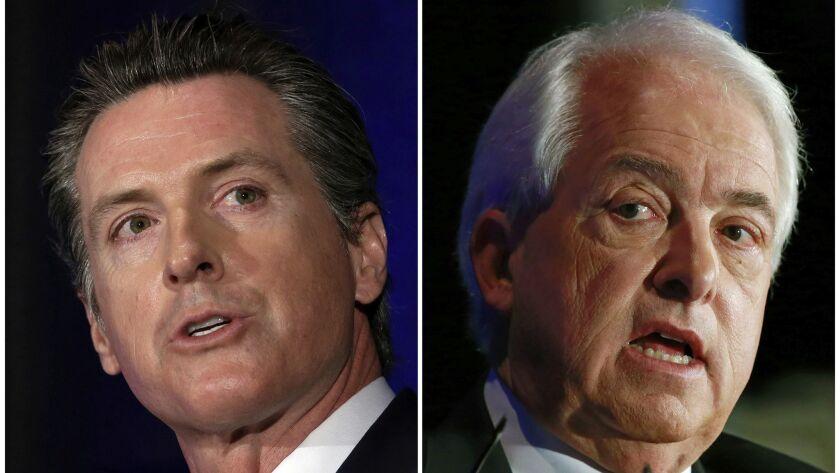 Democrat Gavin Newsom, left, and Republican John Cox.