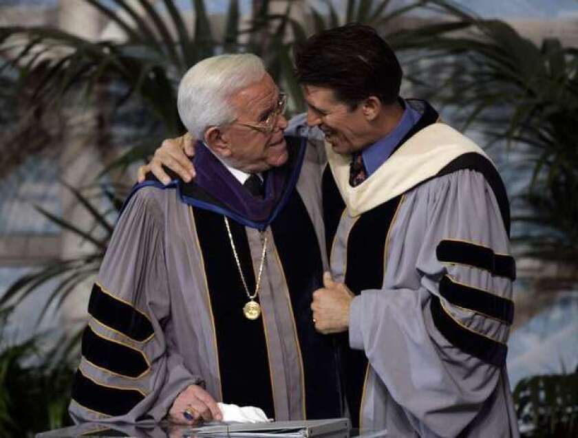 Robert A. Schuller with his father, Robert H. Schuller, at a Crystal Cathedral service in 2006.