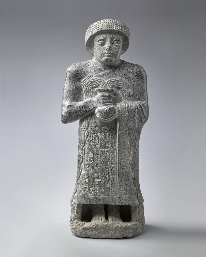 """Gudea with the Vase Of Flowing Water,"" Sumer, circa 2120, dolerite"
