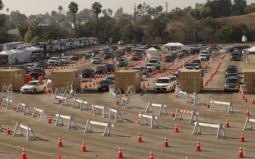 "Officials are rushing to set up vaccination ""super sites"" at Dodger Stadium."