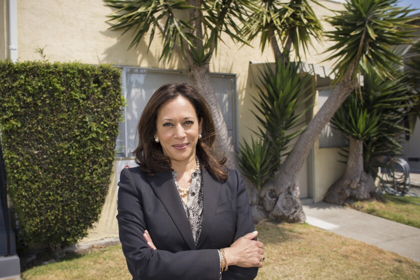 Kamala Harris, the daughter of immigrants from India and Jamaica, stands outside the Berkeley home where she grew up.