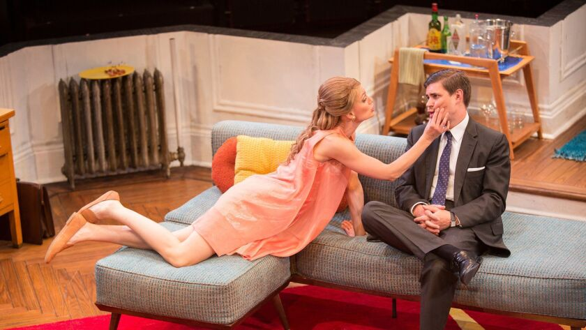 """Kerry Bishé as Corie Bratter and Chris Lowell as Paul Bratter in """"Barefoot in the Park"""" at The Old Globe."""