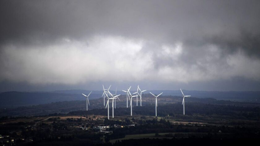 A wind farm.in southwestern France. Energy production will have to shift to renewable sources like wind in order to meet global climate goals.
