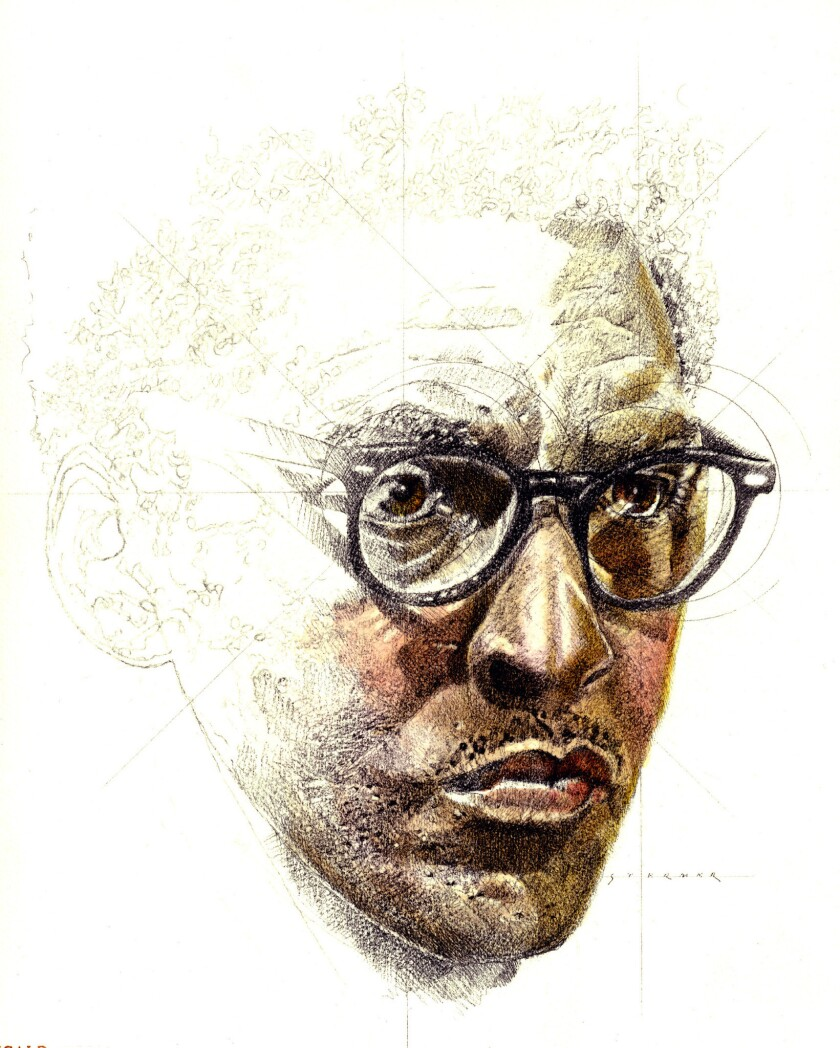 An illustration of Bayard Rustin, who was a mentor to Martin Luther King Jr.