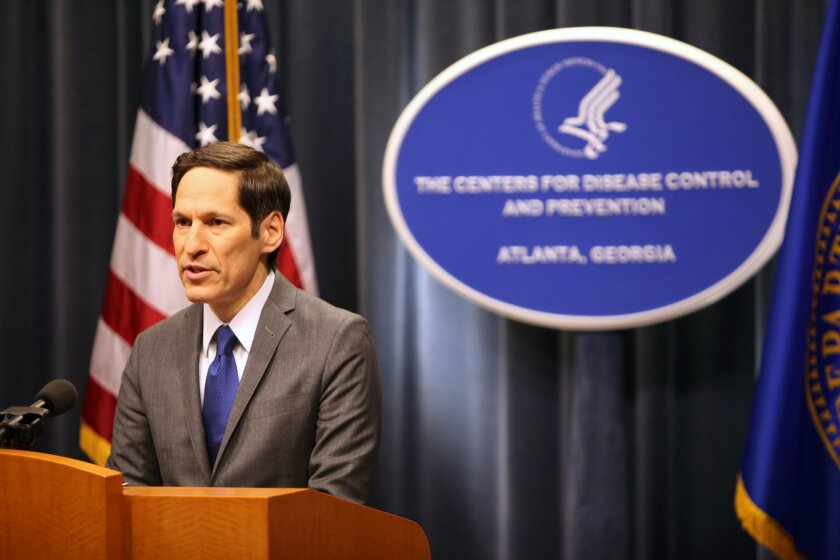 """Centers for Disease Control and Prevention director Dr. Tom Frieden speaks at a news conference Sunday Oct. 5, 2014 at the CDC in Atlanta. Frieden said that he was aware that Ebola patient Thomas Eric Duncan's health had """"taken a turn for the worse,"""" but he declined to say what signs of poor health"""