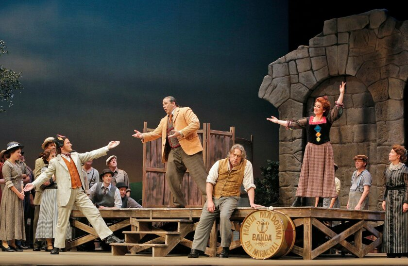 "The San Diego Opera's production of ""Pagliacci"" (from left, Joel Sorensen, Frank Porretta, Stephen Powell, Adina Nitescu)"