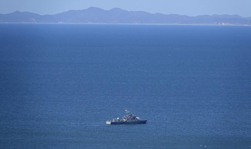 A South Korean navy ship near Yeonpyeong Island on Friday.