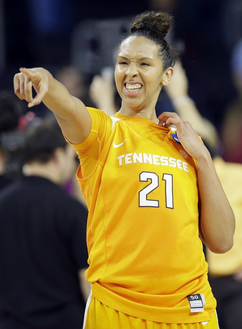 Tennessee center Mercedes Russell reacts to fans after a regional semifinal against Ohio State in the NCAA women's college basketball tournament, Friday, March 25, 2016, in Sioux Falls, S.D. Russell scored 25 points as Tennessee won 78-62. (AP Photo/Charlie Neibergall)