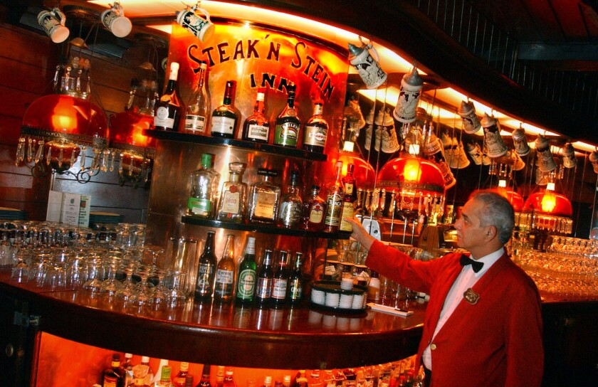 The bar area at Clearman's Steak 'n' Stein in Pico Rivera in 2003; a man is accused of trying to take a computer and claiming to be the manager at the restaurant.