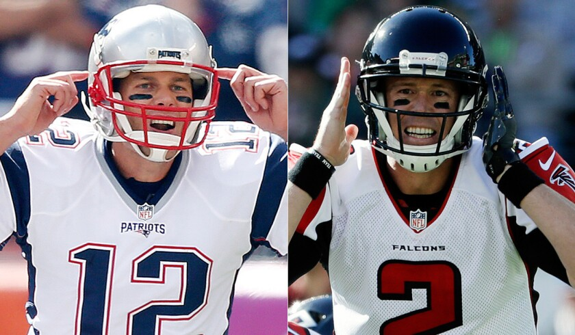 Tom Brady, left, will lead the New England Patriots against Matt Ryan and the Atlanta Falcons in Super Bowl LI.