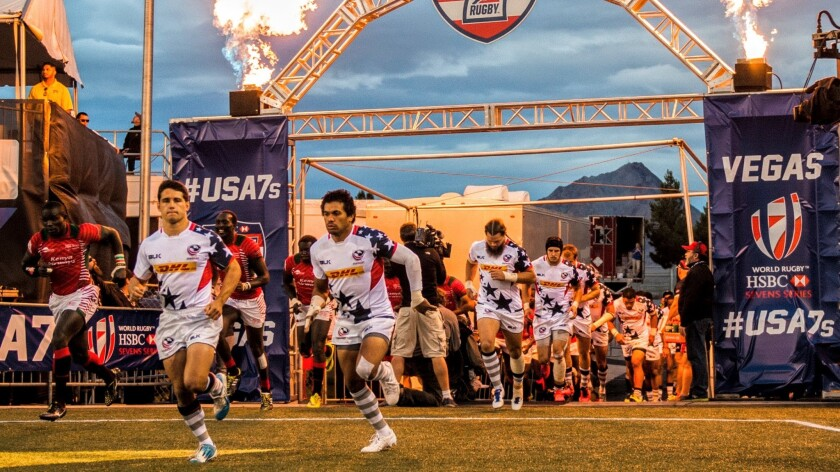 Members of the U.S. men's team take to the field at Sam Boyd Stadium in Nevada last March during the Rugby Sevens competition.