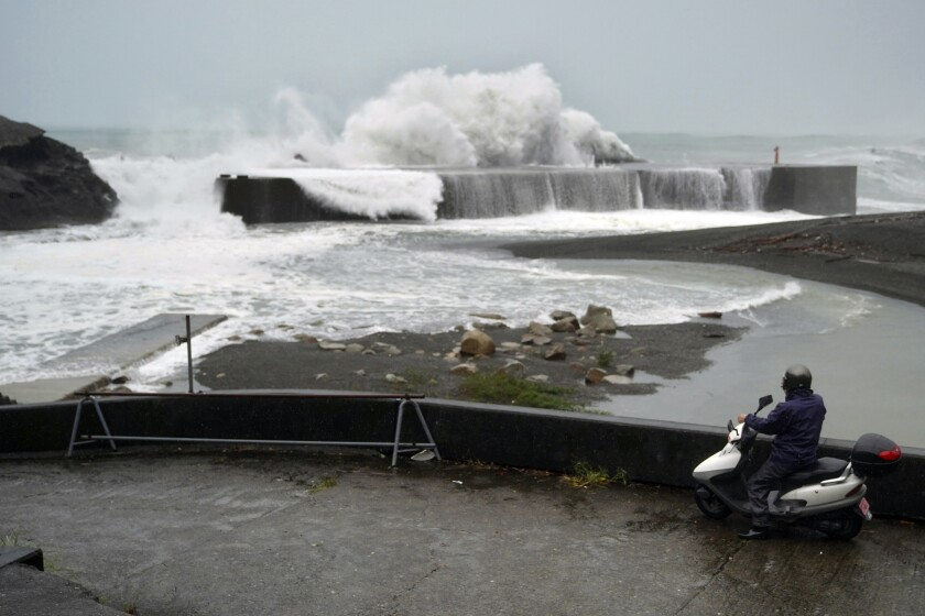 Surging waves during Typhoon Hagibis